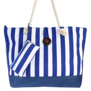 Handbags - 🆕 WEEKENDER EXTRA LARGE BLUE & WHITE STRIPED TOTE